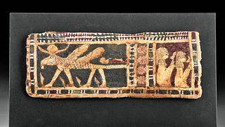 Egyptian Polychrome Cartonnage Panel w/ Criosphinx