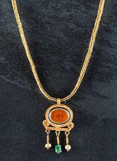 Greek 21K+ Gold Necklace w/ Sardonyx, Pearl & Emerald