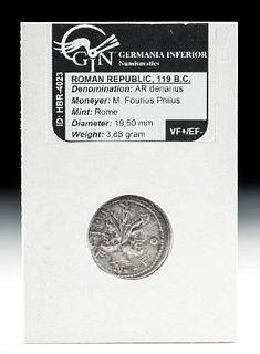 Roman Republic - M. Fourius Philus Silver Denarius
