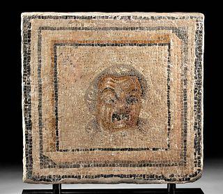 Roman Mosaic w/ Mask of Hegemont Therapon