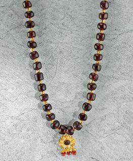 Roman 20K+ Gold & Glass Bead Necklace & Floral Pendant