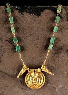Published Roman 20K+ Gold, Ruby, Glass Necklace, Cybele