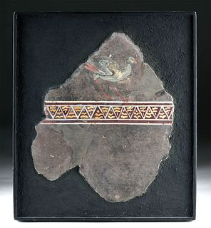 Stunning Roman Wall Fresco - Pheasant / Geometrics