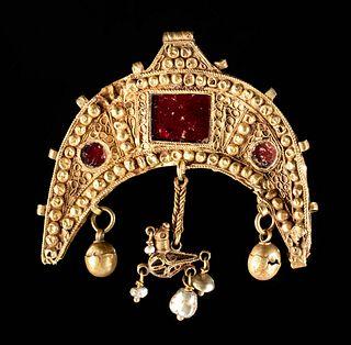 Byzantine 18K Gold Pendant, Glass Inlays, Pearls, Bird