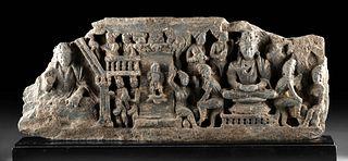 Large Gandharan Schist Frieze - Two Buddhas, Attendants
