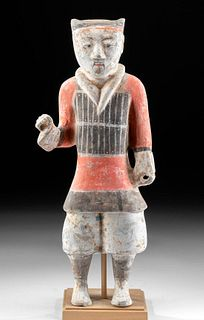 Chinese Han Dynasty Polychrome Standing Warrior w/ TL