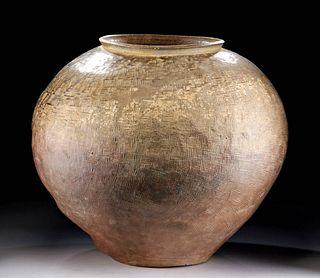 Huge Chinese Warring States Glazed Pottery Jar