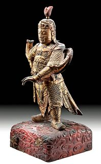 Chinese Qing Dynasty Gilt Wood Guardian Statue - Weituo