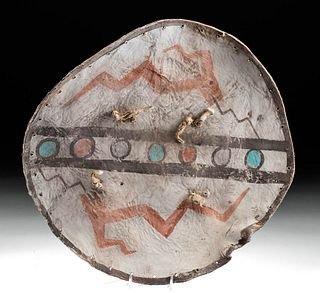 19th C. Pueblo Tewa Painted Hide Shield w/ Avanyus