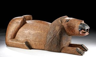 Lg / Early 20th C. African Senufo Wood Recumbent Lion