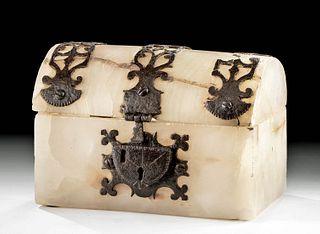 Rare 17th C. Spanish Colonial Alabaster & Iron Box