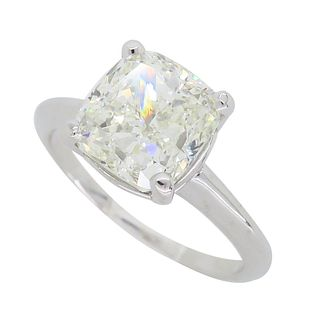 GIA Certified 3.02CT Cushion Cut Solitaire Diamond Ring