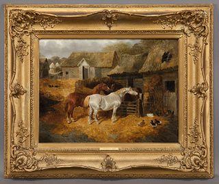 """John Frederick Herring, Jr. """"The Stable Yard"""" oil"""