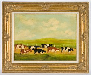 """William Forauer """"Untitled (Herd of cows)"""" oil on"""