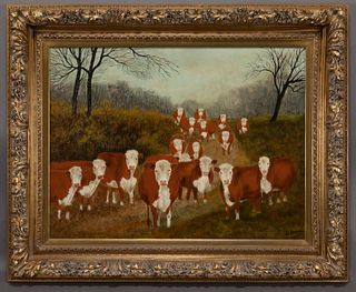 """William Forauer """"Untitled (Forward facing cows in"""
