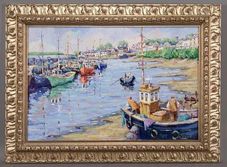 """James Brohan """"Harbor in Galway"""" oil on canvas."""