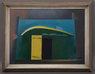 """William Samuel Schwartz """"The Door"""" oil on canvas."""