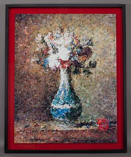 """Vik Muniz """"Flowers in Blue and White Vase, after"""