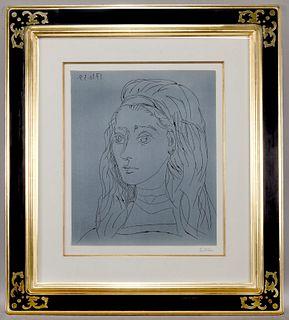 """Pablo Picasso """"Jacqueline"""" color linocut on Arches"""