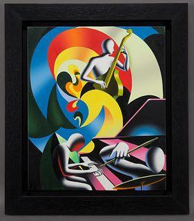 "Mark Kostabi ""Triadic Memories"" oil on canvas,"