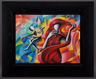 "Mark Kostabi ""Kaleidoscope Serenade"" acrylic on"