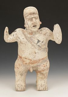 Pre-Columbian Jalisco Pottery Standing Warrior Figure, Ht. 17.5""