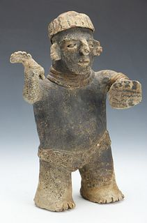 Pre-Columbian Nayarit Pottery Standing Warrior, Ht. 10.5""