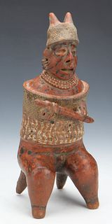 Pre-Columbian Nayarit Pottery Warrior Figure, Ht. 12.5""