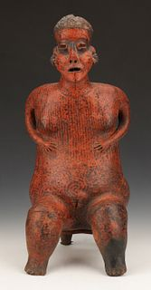 "Pre-Columbian Nayarit Pottery Seated Female Figure, Ht. 20.5"""