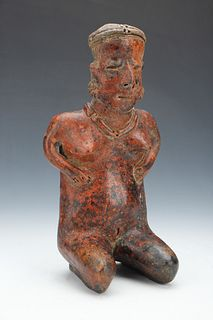 Pre-Columbian Nayarit Pottery Seated Figure, Ht. 12""