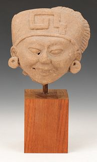Pre-Columbian Veracruz Carved Stone Head, Ht. 6""