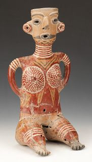 "Zacatecas Pottery Seated Female Figure, Ht. 15.5"""