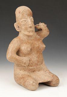 "Pre-Columbian Jalisco Pottery Seated Figure, Ht. 13.5"""