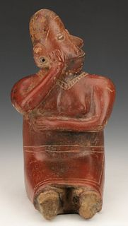 Pre-Columbian Colima Pottery Seated Figure, Ht. 11.5""