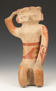 "Pre-Columbian Chupicuaro Pottery Seated Figure, Ht. 14"""