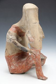 "Pre-Columbian Jalisco Pottery Seated Figure, Ht. 14"""