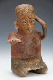 "Pre-Columbian Jalisco Pottery Seated Figure, Ht. 11"""