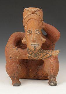 "Pre-Columbian Jalisco Pottery Tattooed Figure, Ht. 8.75"""