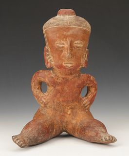 Pre-Columbian Chinesco Pottery Seated Figure, Ht. 11.5""