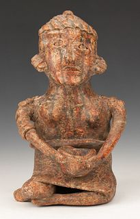 Pre-Columbian Nayarit Pottery Seated Figure, Ht. 8.5""
