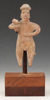 """Pre-Columbian Colima Pottery Figure With Dog, Ht. 5"""""""