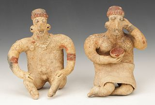 Two Pre-Columbian Jalisco Pottery Seated Figures, Ht. 6""