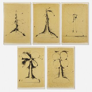 Jim Dine, Lithographs of the Sculpture: The Plant Becomes a Fan (five works)