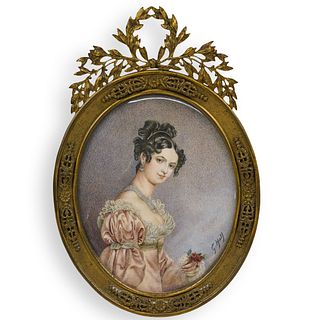 Victorian Bronze Frame with Painted Bone Portrait