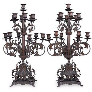 Pair Of Brevettato Style Bronze Candelabras