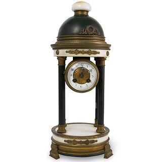 French Neoclassical Marble and Gilt Bronze Clock