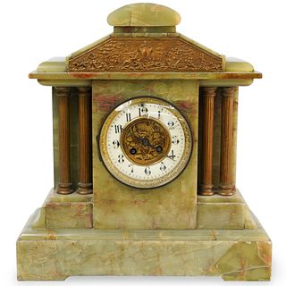 Green Onyx and Bronze Mantle Clock