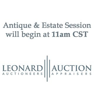 The Antique & Estate Session Begins at 11am CST, The auction will continue at 11am CST.