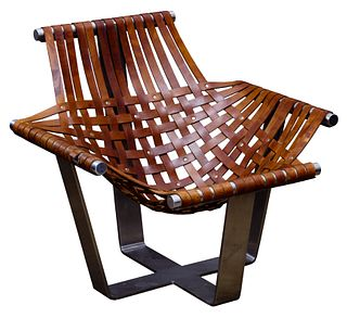 Jeff Messerschmidt Aluminum and Leather Sling Chair