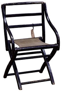 Chinese Lacquered Elm Folding Arm Chair